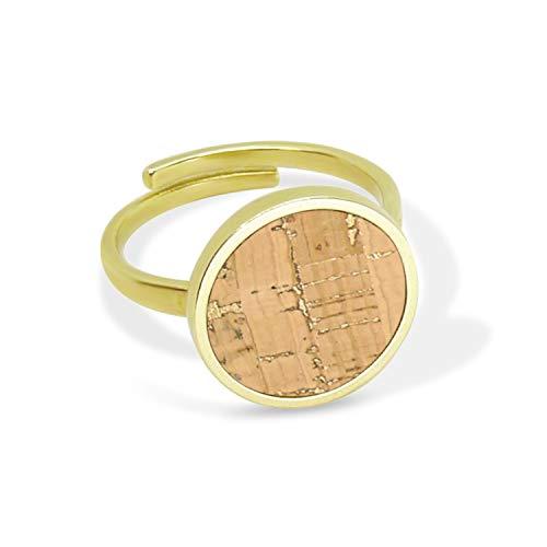 KAALEE® Circle Ring Verstellbar Gold Kork (13mm) | Naturegold Natur Beige Braun | Vergoldet Nickelfrei | Damen Statement Ring Holz Rund - Made in Germany - inkl nachhaltige Geschenk Box