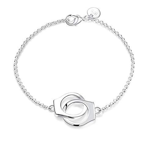 QIANDI - Pulsera de esposas de estilo moderno con símbolo de plata 925 para mujer