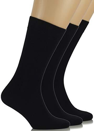 Hugh Ugoli Women's Bamboo Thin Dress Socks Crew Business Casual, 3 Pairs, Black, Shoe Size: 9-12