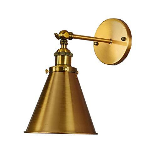 CSDM.AI Loft Aplique De Pared, Simple Lámpara De Pared Bronce Dormitorio Sala De Estar Café Restaurante LED De Pared De Metal Luces De Sombra Tamaño: 18 × 17Cm