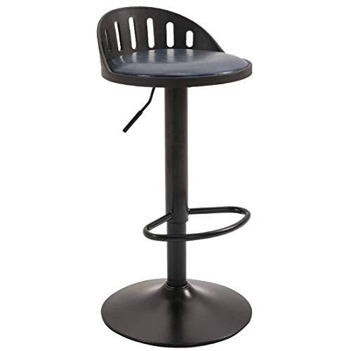 Giyl Metalen bancone kruk kruk hoogte 360 ° draaibaar met rugleuning en voetensteun voor koffieshop, contact, barbershop, pub