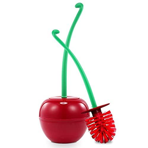 RHNE Cepillo de Inodoro de Cereza Juego de plástico Cabeza de Cepillo Grueso de Moda Mango Antideslizante Detergente Fuerte Material de ABS PP Cepillo Rojo