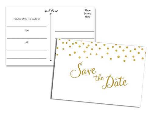 50 Save the Date Postcards Gold Confetti - Fill in the Blank