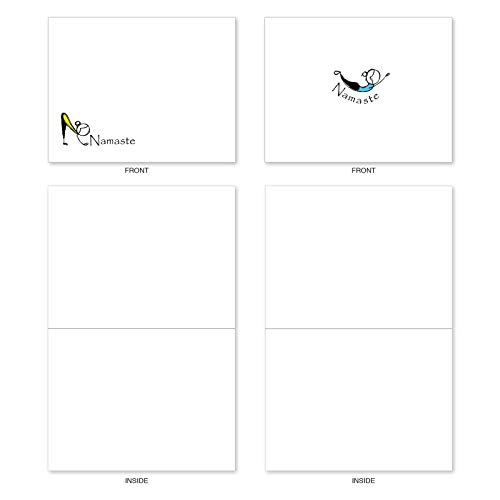 The Best Card Company - 10 Blank Yoga Note Cards Bulk (4 x 5.12 Inch) - Assorted Stick Figure and Animals Cards - Namaste Notes M3963 Photo #4