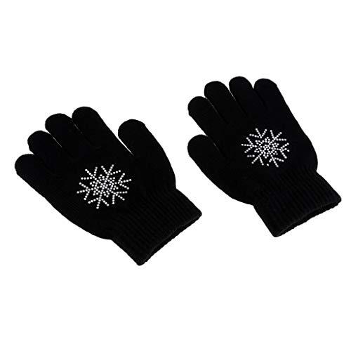 Baoblaze Erwachsene Kinder Skihandschuhe Stretch-Handschuhe Winterhandschuhe Eislaufen Handschuhe Vollfingerhandschuhe - Schwarze Blume S