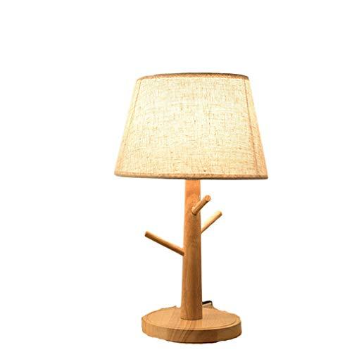 Tatane bedlampje, minimalistisch, van massief hout, nachtkastje, rond, eenvoudig, bureaulamp met lampenkap van stof, kinderkamer, woonkamer