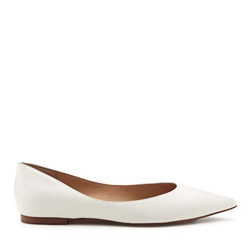 botkier Womens Annika Pointed Toe Flat, Coconut, 7.5