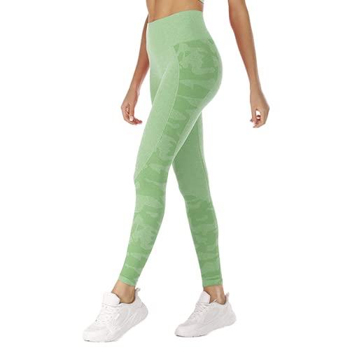 Pantalones de Yoga para Gimnasia sin Costuras para Mujeres Cintura Alta energía Push-ups Celulitis Leggings Camuflaje Fitness Yoga Pantalones C S