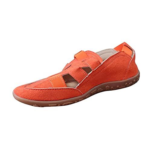 Beudylihy Zapatos de verano de un solo color, planos, para el tiempo libre, cómodos, planos, transpirables, con hebilla, para el tiempo libre, color Naranja, talla 36 EU