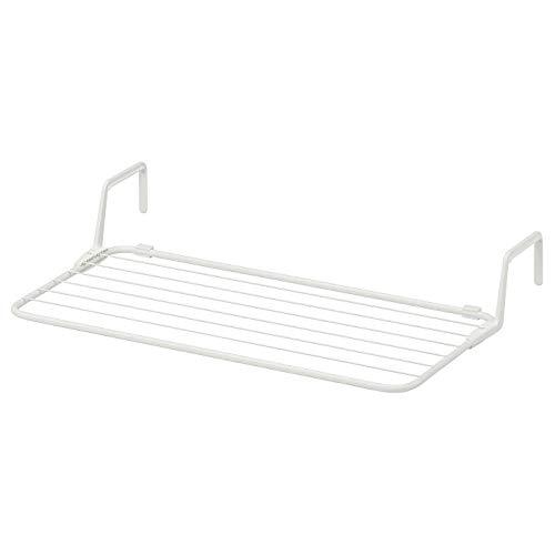 IK EA Antonius - Tendedero con ganchos para balcón, bañera, blanco, 77 x 40 – 49 cm
