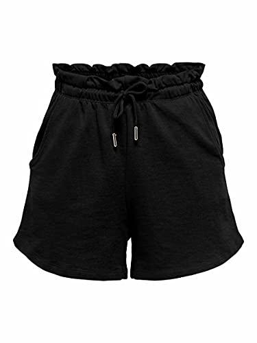 Only ONLZOEY PABERBAG Shorts SWT Pantalones Cortos, Negro, L para Mujer