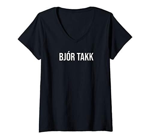 Damen (Ein) Bier bitte auf Isländisch Island Bier T-Shirt mit V-Ausschnitt