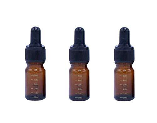 VASANA 3 botellas vacías rellenables de cristal con cuentagotas de aceite esencial con tapa gotero negra para cosméticos y líquidos Elite, ámbar (Naranja) - YPK78470AMBER