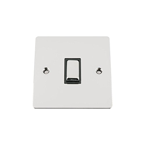 Light Switch 1 Gang 2 Way 10A -Polished Chrome -Flat -Black Insert -Metal Rocker Switch