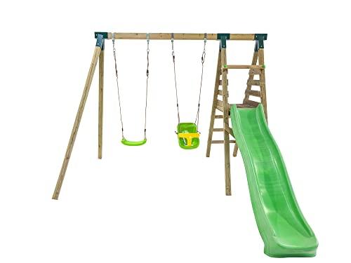 MASGAMES | Parque Infantil Mauna LOA | Versión en Madera Cuadrada | Columpio de Dos plazas | Plataforma con tobogan a 120 cm Altura | (Asiento Extra bebé)