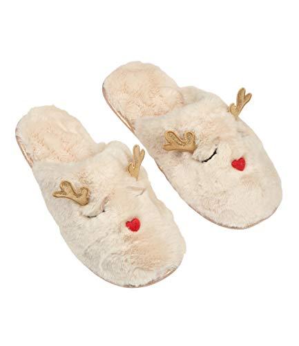 YSTRDY 1 pc. of Fluffy Christmas Slipper in Reindeer Look - Size 36/37 (134-258) Beige