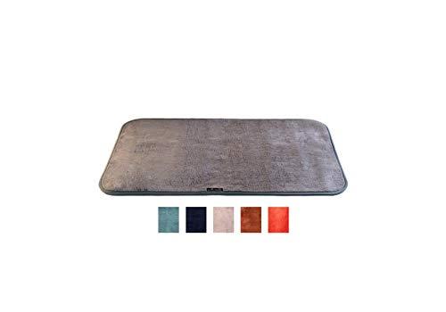 ALADINO - Felpudo para entrada o exterior, muy absorbente y lavable a máquina, antideslizante, para interior, jardín, garaje, cuarto de baño y ducha, microfibra, gris, 100_x_65_cm