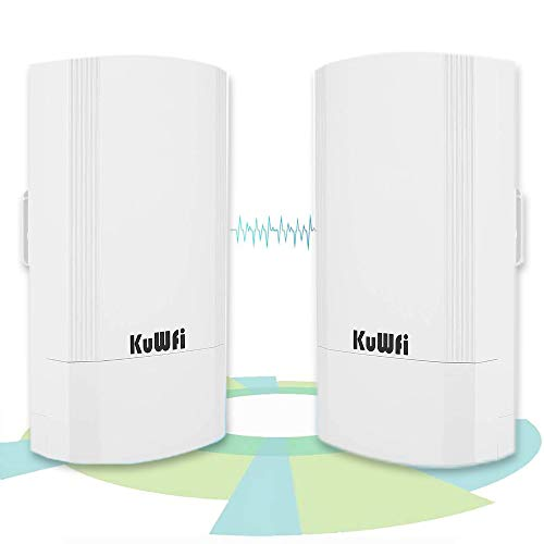 KuWFi Outdoor Wireless Access Point, 2-Pack 900Mbps Long Range Indoor&Outdoor Point-to-Point Wireless CPE Supports 1KM Transmission Distance Solution for PTP, PTMP