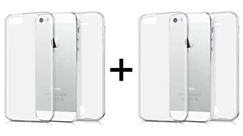 TBOC 2X Funda para iPhone 5 [4'] - [Pack: Dos Unidades] Carcasa [Transparente] Completa [Silicona TPU] Doble Cara [360 Grados] Protección Integral Total Delantera Trasera Lateral Móvil Resistente