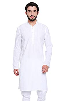 Shatranj Men s Indian Banded Collar Long White Tunic Kurta with High Embroidery  White  XL