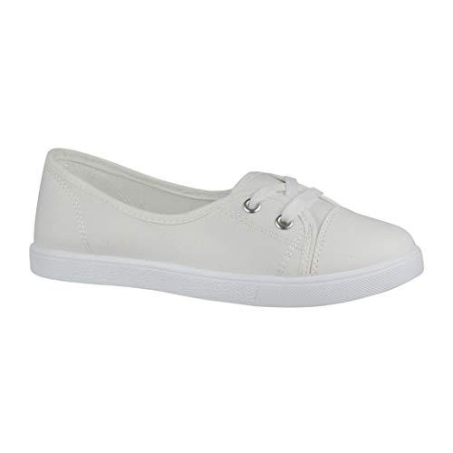 Elara Damen Ballerinas Sneaker Schnürer Chunkyrayan CL33311 White-41