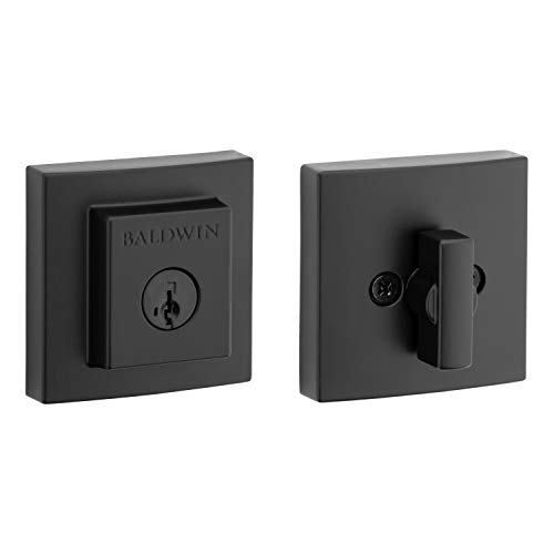 Baldwin Spyglass Single Cylinder Square Deadbolt for Front Door and Garage Door Featuring Microban Antimicrobial Protection and SmartKey Security in Matte Black, Prestige Series (93800-018)