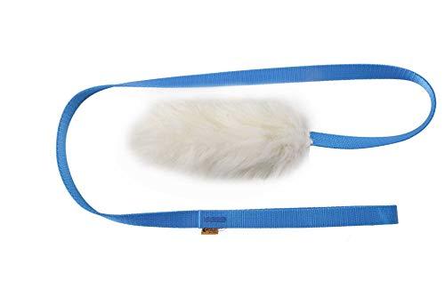 DINGO 15583 - Giocattolo per cani in pelle di pecora con guinzaglio blu lungo 130 cm, motivazione agilità ricompensa tiro per allenamento e divertimento