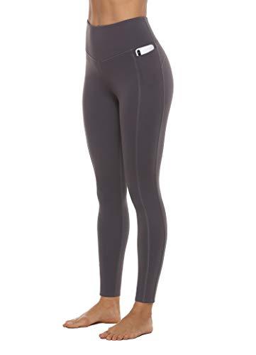 JOYSPELS Leggings Damen, High Waist Sporthose Lang Yogahose Sportleggins Sportbekleidung, Grau, S