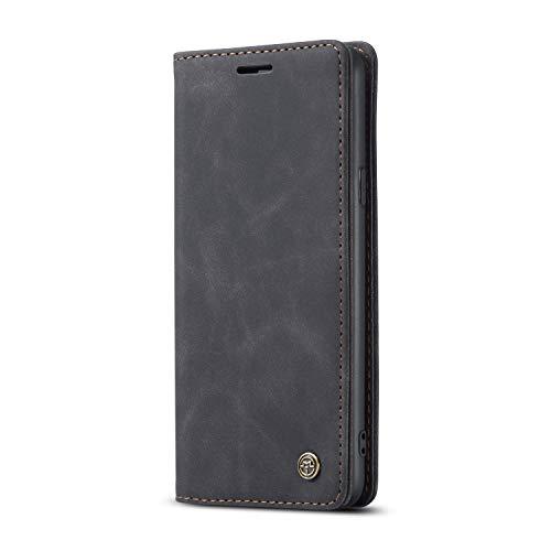 JMstore hülle kompatibel mit Samsung Galaxy A20S, Leder Flip Schutzhülle Brieftasche Handyhülle mit Kreditkarten Standfunktion (Schwarz)