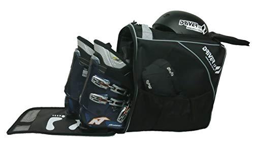 Driver13 ® Skischuhtasche Skistiefeltasche mit Helmfach für Hart Softboots Inliner und Bootbag Tasche schwarz-grau