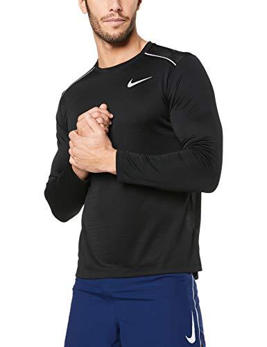 Nike Herren Dri-Fit Miler Longsleeve, Black/Black/Reflective Silver, 2XL
