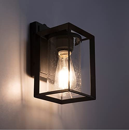 discount Landia Home 2021 Outdoor Wall Lantern - Porch Wall Mounted Sconce Light with Seeded Glass and Automatic outlet online sale Dusk to Dawn Photocell Sensor, ETL Listed outlet online sale