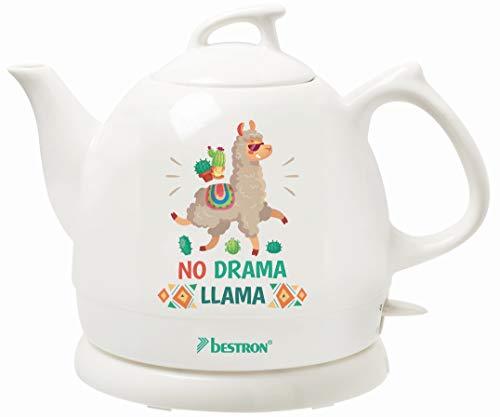 Bestron DTP800DL Hervidor de Agua Retro, Diseno: No Drama Llama, 1800 W, 0.8 litros, Ceramica, Blanco