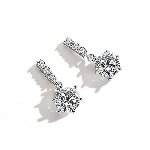 WPJ Pendientes Colgantes de Mujer Pendientes de Plata esterlina, Pernos de Diamante simulados Joyería hipoalergénica, Cristales claros