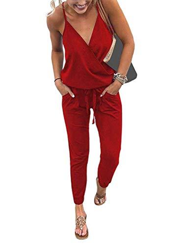 Minetom Mujer Verano Atractivo Mono Jumpsuits con Cordón Bolsillos V-Cuello Sin Mangas Playsuit Pantalones Largos para Fiesta Playa Clubwear Rojo ES 44
