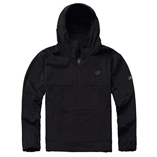 PG Wear Herren Full Face Softshelljacke Combat mit Sturmhaube in schwarz und grau S-XXXL (L, Schwarz)