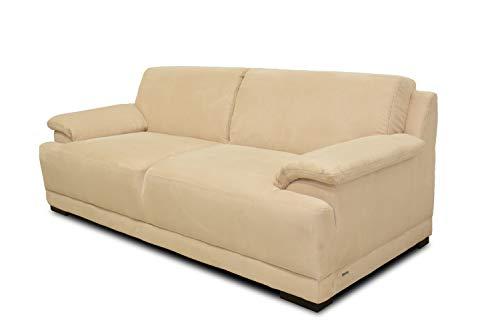 Domo Collection Boxspringsofa Telos / 3er Sofa mit Boxspringfederung / zeitlose Couch mit breiten Armlehnen / Maße: 218/96/80 cm (B/T/H) / Farbe: beige (hell)