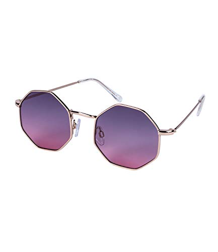 SIX Damen Sonnenbrille, Hexagon Form, Verlaufsglas, Metallgestell, Hippie, Kostüm, Karneval, gold, lila, pink (324-543)