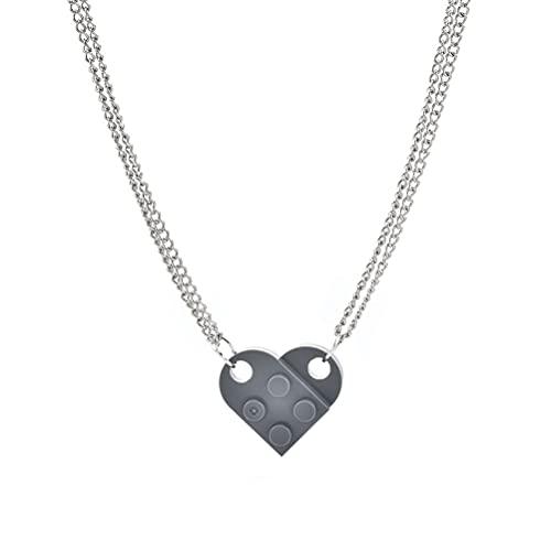 1 paire Collier de bloc de construction en forme de coeur Collier de brique Collier de pendentif en forme de coeur Ensemble de bijoux assortis Convient à Couples Amoureux Copines Amitié