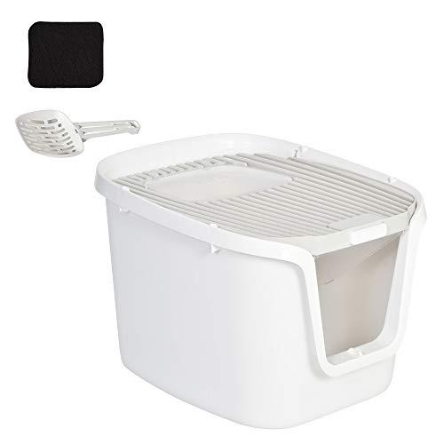 Pawhut Caja de Arena para Gatos con Diseño de Doble Puerta Arenero Caja Desodorizante de Carbón Activado Pala Equipada Amplio Espacio 55,5x44,5x38,3 cm Blanco