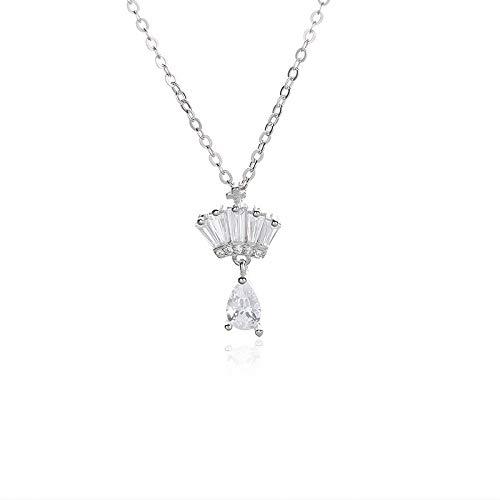 NHGF Collar de Plata esterlina S925, Cadena de clavícula con Borla para Mujer, Collar Festoneado con Falda pequeña de Moda