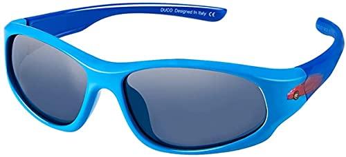 HAOHANYOUPIN Bambini Stile Sport Stile Polanizzato Occhiali da Sole in Gomma Telaio Flessibile for Ragazzi e Ragazze K006 Occhiali Ciclismo Uomo (Color : Blue Frame Blue Temple)
