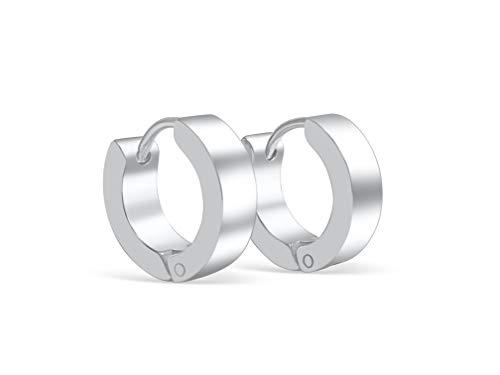 Creolen oorbellen oorstekers zilver mat klassiek design klapcreolen scharnierbeugel | 1 paar 2 stuks | hoogwaardig roestvrij staal 4 mm breed oorsieraad ringen voor dames en heren klapsluiting