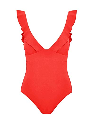 Soyml Women's One Piece Swimsuit Ruffle Solid Monokinis Tummy Control Swimwear with Criss Cross Tie Back Bathing Suits Red