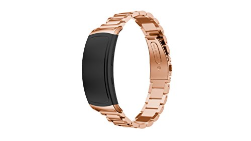 Yikamosi Compatible con Samsung Gear Fit 2 Pro/Fit 2 Correa,Metal de Acero Inoxidable Reemplazo Smart Watch Correa Strap Bands para Samsung Gear Fit 2 Pro SM-R365/Fit 2 SM-R360(T-Rose Gold)