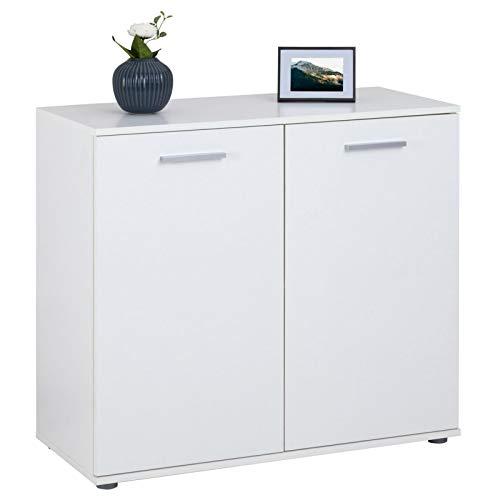 CARO-Möbel Kommode Chicago mit 2 Türen, Moderne Anrichte in weiß, Sideboard Mehrzweckschrank für Wohnzimmer