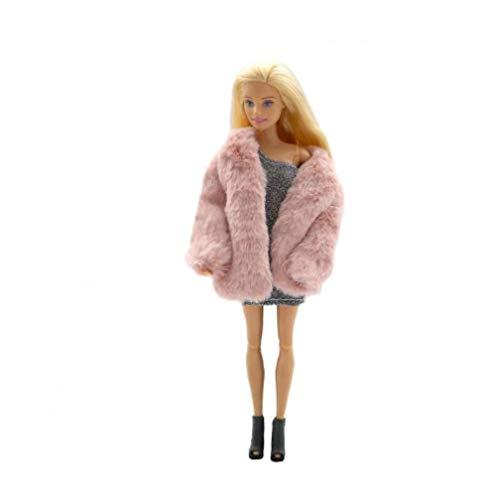 OMMO LEBEINDR Fashion Coat Plüsch-Mantel Windjacke Lässige Kleidung Anzug Spielzeug-zubehör Für Barbie-Puppe 29cm Rosa Lustigen Spielzeug