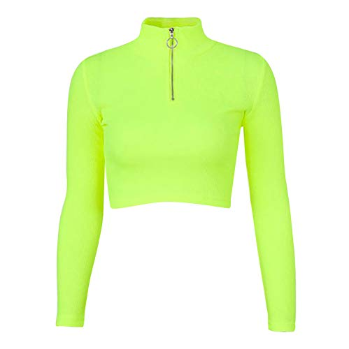 iixpin Crop Top de Danza Jazz Hip Hop para Mujer Camiseta Manga Larga de Punto T-Shirt Slim Fit Jersey Elstico Sudaderas de Moda Verde M