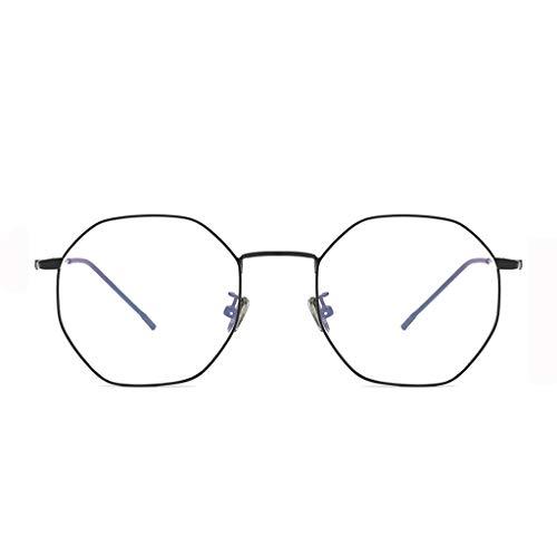 Vidrios Planos antiflu Ray Glasses Glasses Gafas Protectoras para computadora móviles Female Polygon, Protección Ocular (Color : Negro) ✅