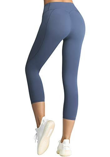 FITTIN Capris de entrenamiento para mujer con bolsillo – Pantalones de yoga para correr, deportes, fitness, gimnasio - azul - Medium